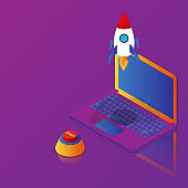 business startup rocket launch from laptop