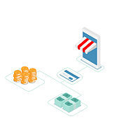 online shopping with credit card vector isometric