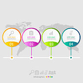 illustration of circle infographic elements layout 4 steps for business presentation