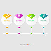 illustration of circle timeline infographic elements layout 4 steps