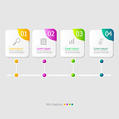 illustration of square timeline infographic elements layout 4 steps