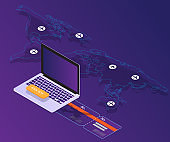 booking online concept laptop with world map location vector isometric