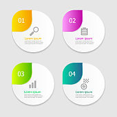 illustration of circle infographic elements layout 4 options vector