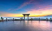The magical dawn on the pagoda