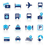 Travel Two Color Icons Set