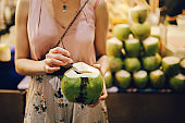 Thai street food - delicious and fresh coconut water on the go