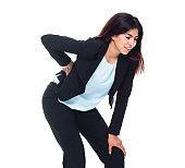 Businesswoman is suffering from backache