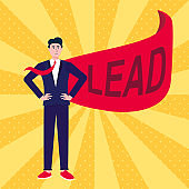 Successful man, leader, businessman in suit and red cape with LEAD text flat style design vector illustration isolated on rays background. Concept of leadership and success in business career growth.