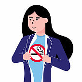 Young female woman girl tears shirt and shows t-shirt with no smoking sign icon flat style design vector illustration isolated white background. Concept super girl hero No smoking girl template.