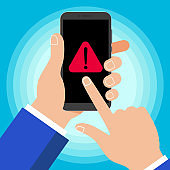 Hand holding black mobile phone with warning notice symbol icon sign  isolated on background. Smartphone in human hand and pointer finger touch the screenvector illustration flat design style