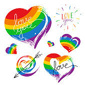 Bright hand drawn illustration isolated on white background. Grunge hearts in rainbow color. LGBT pride symbol.