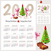 Chinese calendar for happy New Year 2019 year of the pig. Illustration with family of pigs and Christmas Tree.