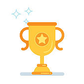 Win award trophy cup icon sign flat style vector illustration isolated on white background