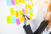 Creative woman use post-it notes to share idea