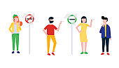 Group of smoking people. Teenager girl, young boy, woman and man smoke cigarettes near signs no smoking and smoking area flat style design vector illustration isolated on white background