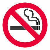 No smoking  sign. Forbidden sign icon isolated on white background vector illustration. Black cigarette and smoke, red prohobition circle isolated on white background. Rounded angles flat design style
