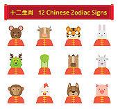 Flat Twelve Chinese Zodiac Signs Avatar icons   Kalaful series