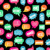 Seamless pattern with speech bubbles flat gradient style design another shapes with text; love, yes, like, lol, cool, wow, boom, yes... hand drawn comic cartoon style set vector illustration isolated.