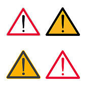 Attention caution danger sign icon set. Black and red vesrions of exclamination mark in the red and black triangle sign symbol or sticker element isolated on white background vector illustration