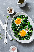 Fried eggs with spinach - healthy diet breakfast on a gray background. Top view
