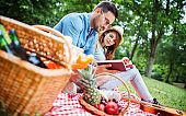 Picnic time. Young couple enjoying picnic in the park. Lifestyle, love, relationships concept