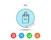 Sale shopping bag icon. Discount handbag sign.