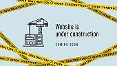 Website in under construction banner flat. Web page building process. Modern vector illustration
