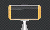 Monopod Selfie stick with empty smartphone screen for your design.
