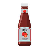 Bottle of ketchup mock up with flat design style vector illustration.