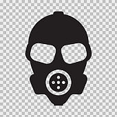 Vector Gas mask with flat and solid color style.