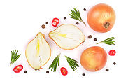 onions with rosemary and peppercorns isolated on a white background with copy space for your text. Top view. Flat lay