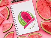 a bright watermelon sketch with markers decorated with watermelon slices on pink background