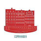 Copenhagen Denmark, old european city icon