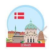 Denmark Copenhagen background with national attractions