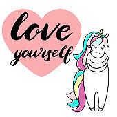 Cute little unicorn is cuddeling yourself.