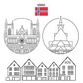 Norway set of landmark icons