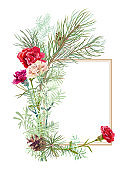 Bouquet of carnation, white, red flowers, green twigs asparagus, pine branches, cones, white background. Frame for Christmas, Mother's Day, digital draw, illustration in watercolor style, vector
