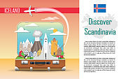 Suitcase with landmarks of Iceland