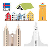Set with Iceland landmarks in flat style