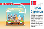Suitcase with landmarks of Norway