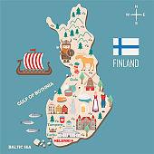 Stylized map of Finland