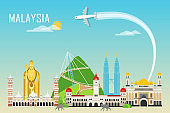 Travel background with landmarks of Malaysia