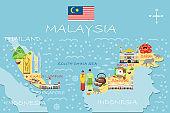 Stylized map of Malaysia. Travel illustration with malaysian landmarks