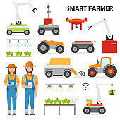 Agriculture automation smart farming icons set with isolated images of farmer and robot