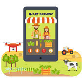 Smart farming mobile application flat infographics. Online marketing and shopping