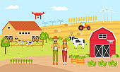 Two farmers with Smart farming. Farm Management Information Systems