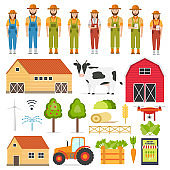 Set of happy farmers and smart Farming elements