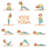 Kids yoga set with cute cartoon girl