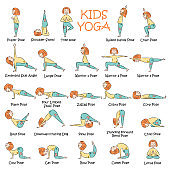 Hand-drawn Yoga kids set