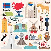 Set of Iceland symbols in flat style